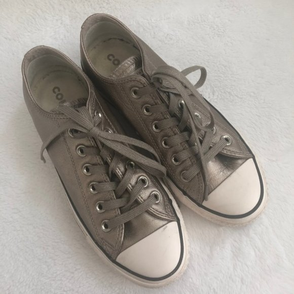 Converse Shoes | New Converse Leather Platinum Metallic Sneakers ...